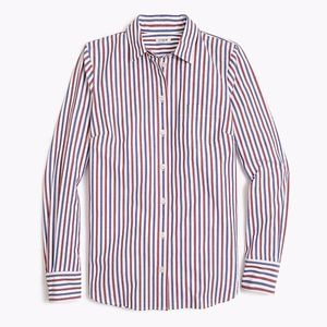 NWT J.Crew Washed Shirt in Red and Blue Stripes